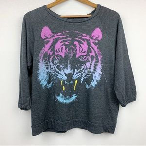 Jerry Leigh Graphic Purple Tiger Glitter Fang Top